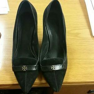 Black suede TB heels